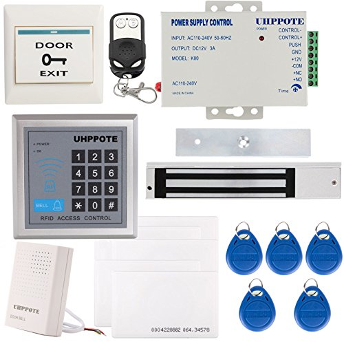 600 Lb Magnetic Lock (UHPPOTE Full Complete 125KHz EM-ID Card 1 Door Security Access Control Entry System Kit With Electric 600Lbs 280KG Force Magnetic Lock)