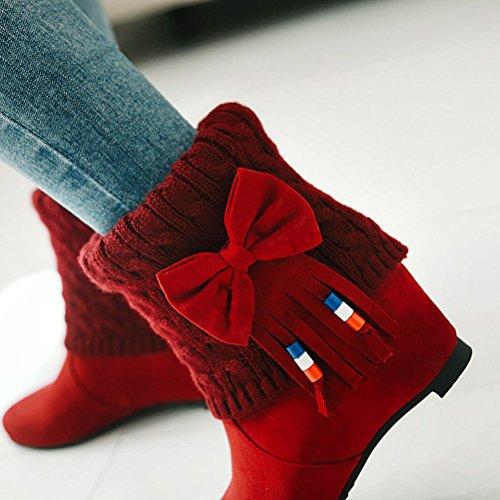 con Le Stivali HiTime 35 Donna Red EU Frange Rosso qwf5C