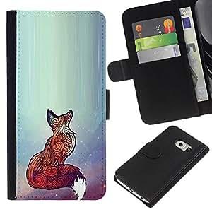 KingStore / Leather Etui en cuir / Samsung Galaxy S6 EDGE / Rojo lindo animal del arte hermoso brillante;
