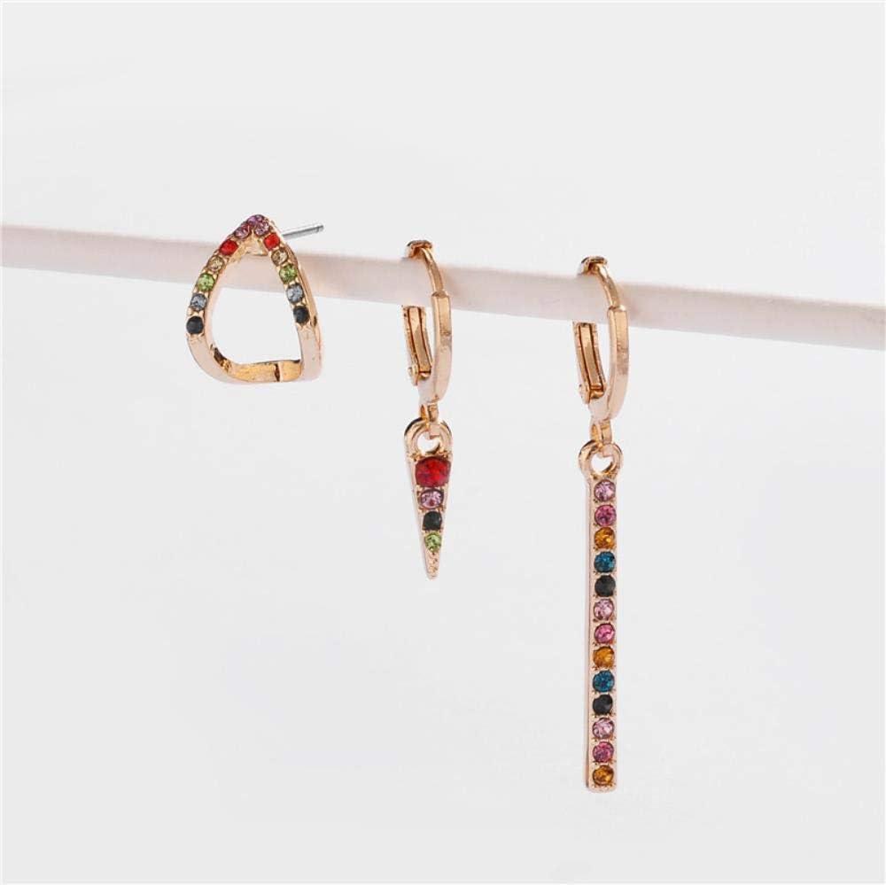 ZNYH Pendientes de aleación de Cobre Ganchos para los oídos Pueden Abrir aretes de Diamantes de Piedras Preciosas de Colores Pendientes Femeninos