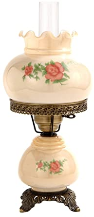 Small Red Rose 18u0026quot; High Night Light Hurricane Table Lamp