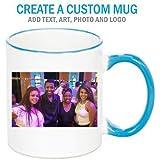Personalized Blue/White Rim and Handle Photo Mug