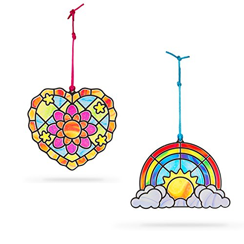 Melissa & Doug Stained Glass Made Easy Activity Kit, Rainbow & Heart Ornaments (Arts and Crafts, Develops Problem Solving Skills, 80+ Stickers) (Stained Mermaid Glass)