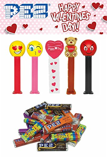 Pez Candy Valentine's Day Dispenser Set: Happy Valentines Day Heart, Teddy Bear with a Love Heart, Love Emoji, Kissing Emoji, and Devilish Emoji (5 Dispensers and PEZ Candy Refill Set)
