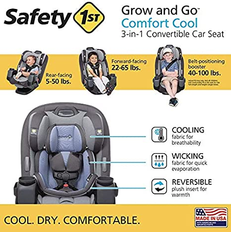 Tide Pool Safety 1st Grow and Go Comfort Cool 3-in-1 Convertible Car Seat