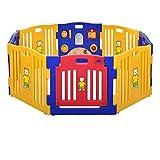 EAZYGOODS 8 Panel Baby Kids Playpen Folding Room Divider with Educational Toys, Polyethylene Multi-Colour, 79 x 10 x 63 cm