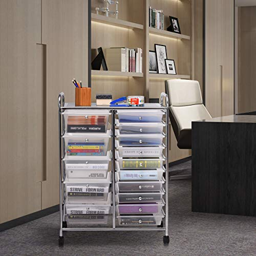 Giantex 15 Drawer Rolling Storage Cart Tools Scrapbook Paper Office School Organizer, Clear by Giantex (Image #1)