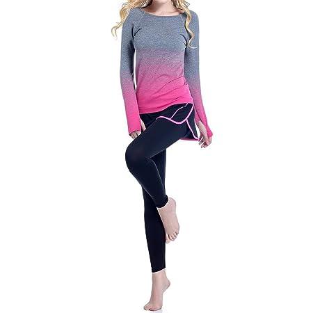 Damas protector solar gradiente de yoga falso dos trajes de ...
