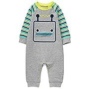 Gymboree Baby Boys Robot Onepiece, Robot Grey, 0-3 Mo