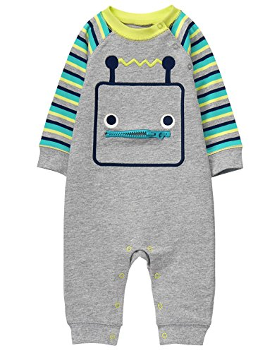 Gymboree Baby Boys Robot Onepiece, Grey, 6-12 Mo (Clothes Baby Gymboree Boy)