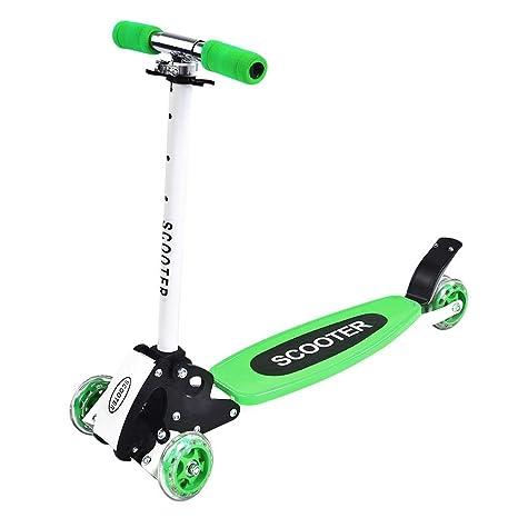 GOTOTOP Plegable Altura Ajustable 4-Rueda Scooter Patinete de Regalo para Niños (Verde)