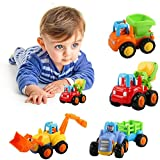 Toys : Friction Powered Cars Push and Go Car Construction Vehicles Toys Set of 4 Tractor,Bulldozer,Cement Mixer Truck,Dumper Push Back Cartoon Play for 1 2 3 Years Old Boys Toddlers Kids Gift