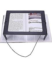 Lupa Manos Libres Lupa Rectangular Grande de página Completa Luz LED Iluminada Plegable Portátil de Escritorio 2.5X Lupa portátil