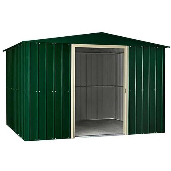 Lotus 1010 Apex Premium Metal cobertizo patrimonio verde con doble puertas correderas: Amazon.es: Jardín