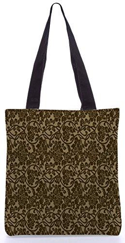 Snoogg Flowy Motif13.5 x 15 Zoll-Shopping-Dienstprogramm-Einkaufstasche aus Polyester-Segeltuch gemacht