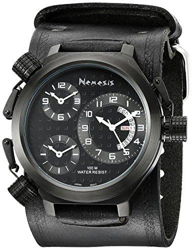 Nemesis Men's KIN080KK Signature 3-TimeZone All Black Leather Band Watch
