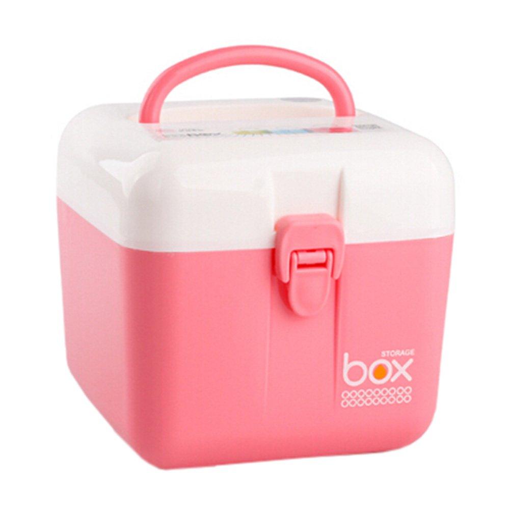 Home/Travel Medicine Box Portable Medicine Cabinet Square Storage Box Pink