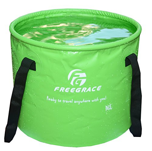 Freegrace Premium Collapsible Bucket -Multifunctional Folding Bucket -Perfect Gear for Camping, Hiking & Travel(Green, 10L)