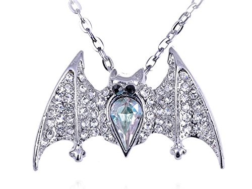 Alilang Silver Tone Gothic Halloween Aurora Borealis Crystal Vampire Bat Animal Pendant Necklace