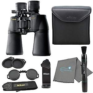 Nikon Aculon A211 10-22×50 Binoculars Black (8252) Bundle with a Tripod Adapter, Nikon Lens Pen, and Lumintrail Cleaning…