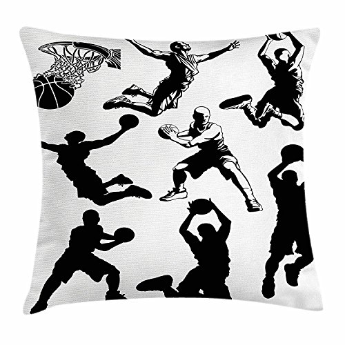 Boy's Room Throw Pillow Cushion Cover, Athletic Muscular Men in Various Basketball Positions Competitive Sports Theme, Decorative Square Accent Pillow Case, 18X18 Inches, Black White
