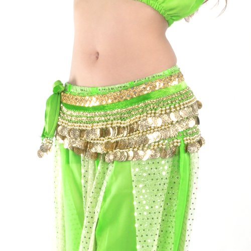 BellyLady Multi-Row Gold Coins Belly Dance Skirt Wrap & Hip Scarf, Gift Idea-Green