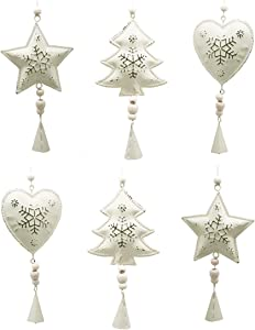 tyoungg Farmhouse Rustic Tin White Christmas Tree Ornaments Metal Pedant Chimes Hangings Home Arch Tableware Decoration Indoor Outdoor (6 pcs Metal Farm House pedants)