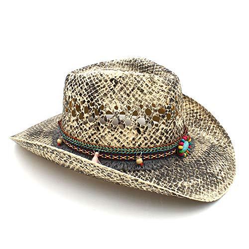 Sun hats Hat- Mujeres Hombres Paja Occidental Vaquero Sombreros Verano Hecho  a Mano de la Armadura Señora Sombrero Hombre Vaquera Gorras Bohemio (Color  ... 949702705f5