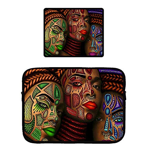 Luggage Porter Case Pc - African American Woman Girl Abstract Graffiti Zipper Waterproof Tablet Sleeves Neoprene Vertical Style Protective Tablet Travel Pouch Bag with Non-Slip Rubber Mouse Mat Pad, Premium-Textured