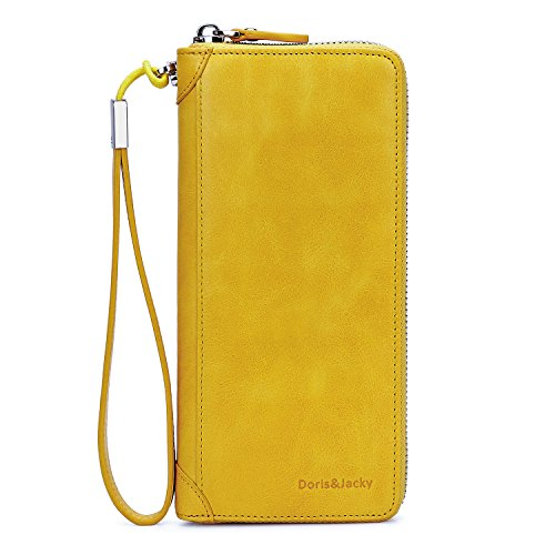 Italian Leather Checkbook Wallet (Women's Zipper Leather Wallet Large Capacity RFID Blocking Clutch Purse With Wrist Strap (Yellow))