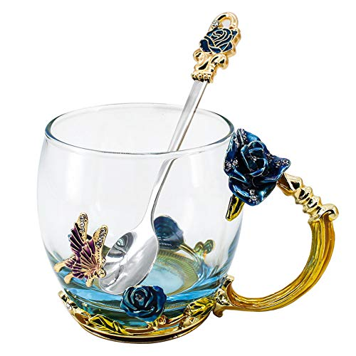 Glass Mug Set Lead-Free Handmade Enamel Butterfly and Blue Rose Flower Tea Cups with Handle, Unique Personalized Birthday Present Ideas for Women Grandma Teachers Coffee Mother's Day - Personalized Roses Tea