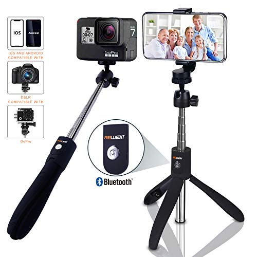 Selfie Stick Bluetooth - FREELLIGENT Extendable Selfie Stick with Wireless Remote and Tripod Stand Selfie Stick for iOS & Android