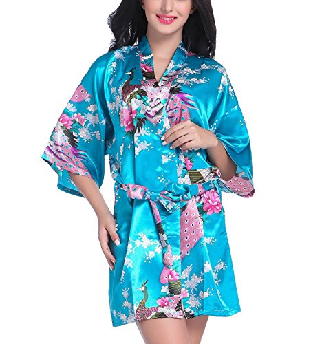 - Mobarta Women's Bridesmaid Robes Short Peacock Blossoms Kimono Robe Dressing Gown Floral Robes for Wedding Party Birthday (Lake Blue, S)