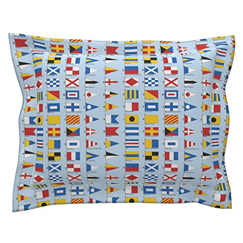 Roostery Sailing Euro Flanged Pillow Sham 01958929 : Nautical Signalling Flags by Sef Natural Cotton Sateen made by - Nautical Code Flag Pillow