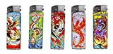 Ed Hardy LED Lighters Cigarette and Cigar Lighters Refillable Butane Gas Christian Audigier Tattoo Artist Qty5 (Raving Ser 126)