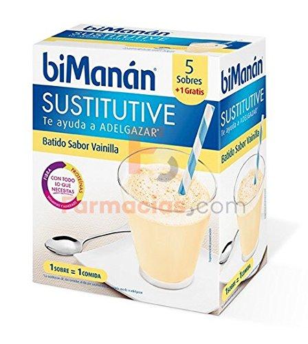 Bimanan BATIDOS SUSTITUTIVOS DE VAINILLA - 6 SOBRES- SUSTITUTIVE: Amazon.es: Salud y cuidado personal