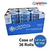 "GripBlue Multi-Use Blue Painters Tape | Safe-Release Crepe Paper Masking Tape for Multi-Surfaces | 60 YDs X 1.41""/36mm 