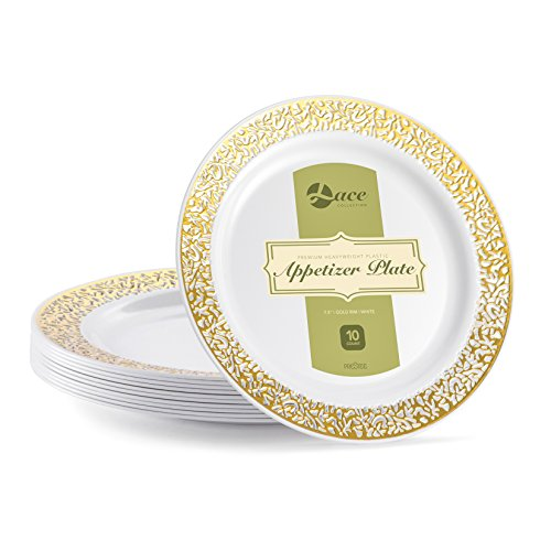 LACE PLASTIC PARTY DISPOSABLE PLATES   7.5 Inch Hard Round Wedding Appetizer Plates   White with Gold Rim, 40 Pack   Elegant & Fancy Heavy Duty Party Supplies Plates for Holidays & Occasions