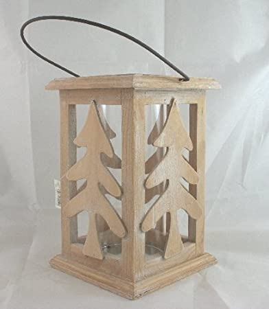 Lanterna Porta Candela In Legno Shabby Chic Albero Di
