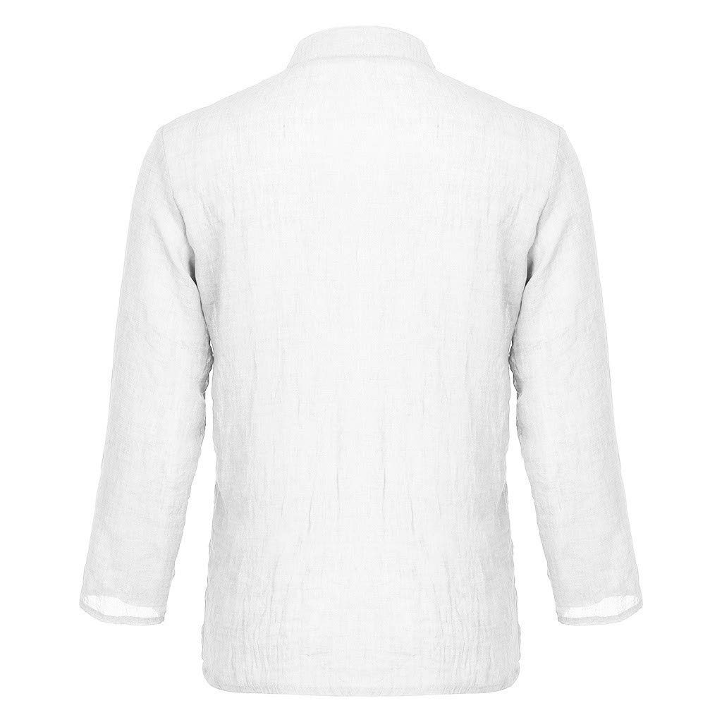 BHYDRY Herren Sommer Modische Pers/önlichkeit Baumwolle-Leinen Pure Long Sleeve Top