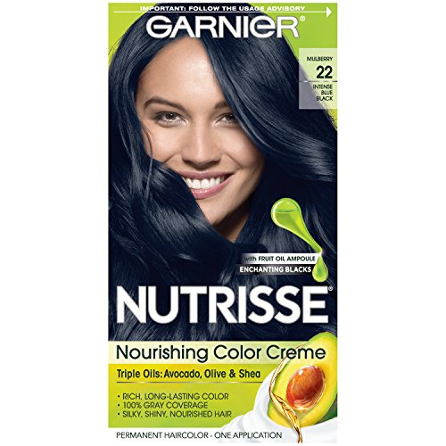 Garnier Nutrisse Nourishing Color Creme Nourishing Color Creme 22 - Intense Blue Black (Packaging May Vary) (Best Blue Hair Dye For Black Hair)