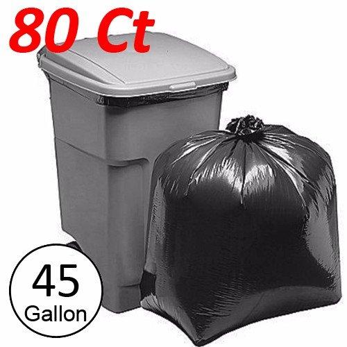 wideskall 45 Gallong Extra Large Heavy Duty CommercialキッチンゴミTrashバッグブラック – 80のパック B076MM6S24