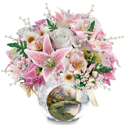 Thomas Kinkade Always in Bloom Illuminated Centerpiece With - Thomas Kinkade Lighted Cottage