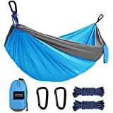 Kootek Camping Hammock Double & Single Portable Tree Hammocks with 2 Hanging Ropes, Lightweight Nylon Parachute Hammocks for Backpacking, Travel, Beach, Backyard, Hiking