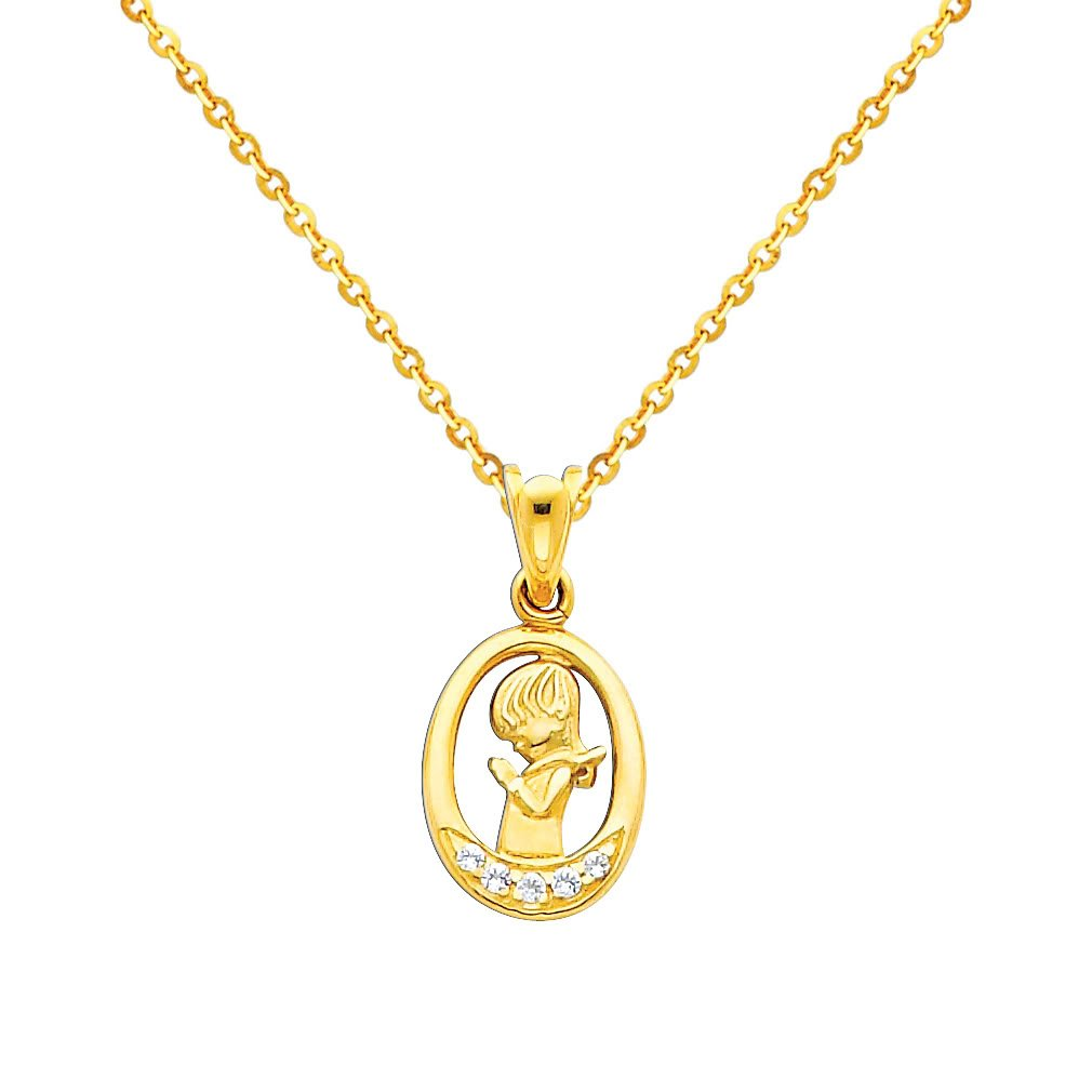 14k Yellow Gold CZ Prayer Pendant with 1.2mm Cable Chain Necklace