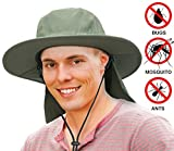Unisex Fishing Hat with Foldable Neck Flap Cover Wide Brim Sun UV Protection Hiking Safari Bucket Cap for Bug Free(Olive)