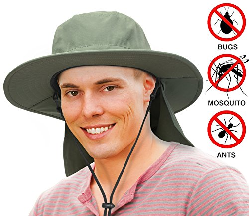 Unisex Fishing Hat with Foldable Neck Flap Cover Wide Brim Sun UV Protection Hiking Safari Bucket Cap for Bug Free(Olive) - Olive Microfiber Overall