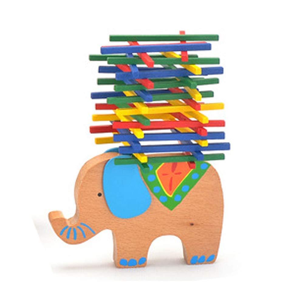 NaiCasy Jeu de balancs empilables en Bois Motif éléphants et caméléphants