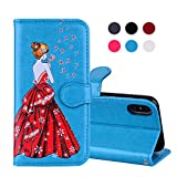 iPhone X Case, iPhone X Leather Case - COZY HUT iPhone X Flip Stand Phone Case Cover ,3D Colorful Dandelion girl Painting Design Premium PU Leather Wallet Handset Shell Bookstyle Cellphone Skin Pouch & Magnetic Closure & Card Slots Protective Pocket For iPhone X & iPhone 10 Handphone - Blue dandelion girl