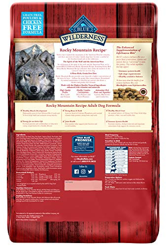 Blue Buffalo Wilderness Rocky Mountain Recipe High Protein Grain Free, Natural Adult Dry Dog Food, Red Meat 22-lb